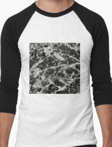 Splash Lattice - Black And White Abstract Men's Baseball ¾ T-Shirt