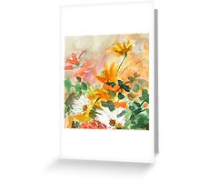 orange yellow white flower Greeting Card