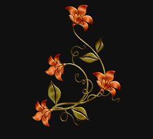 Black Background Orange Lilies Floral Pattern Womens Fitted T-Shirt