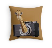peek a giraffe Throw Pillow