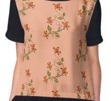 Peach Background Orange Lilies Floral Pattern Chiffon Top