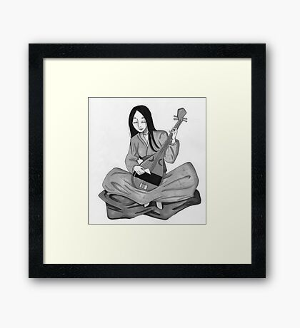 Traditional Japanese Woman with a Biwa Framed Print