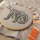 Celtic Rabbit Letter M WIP embroidery by Donna Huntriss
