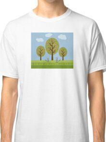 Cute Raccoons and Apple Trees Classic T-Shirt