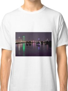 Dallas Skyline at night beyond flooded Trinity River Classic T-Shirt