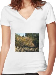 Autumn in Tasmania - Launceston Cataract Gorge Women's Fitted V-Neck T-Shirt