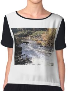 Autumn Rapids, Cataract Gorge, Launceston, Tasmania Chiffon Top
