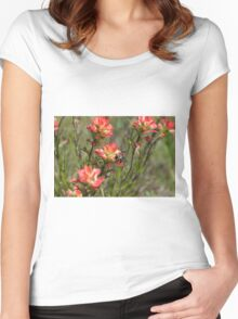 Bumble Bee on bright pink Indian Paintbrush flowers Women's Fitted Scoop T-Shirt