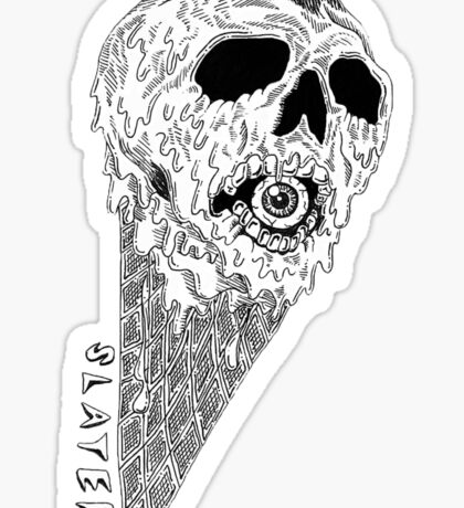 Slater Ice Cream Skull Sticker Sticker