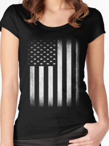 Grunge Look American Flag Women's Fitted Scoop T-Shirt