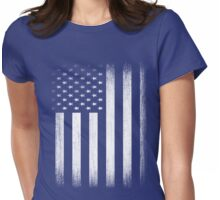 Grunge Look American Flag Womens Fitted T-Shirt
