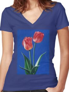 Two Tulips Women's Fitted V-Neck T-Shirt