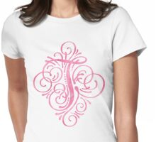Monogram T Watercolor Pink Womens Fitted T-Shirt