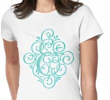 Monogram E Watercolor Turquoise Womens Fitted T-Shirt