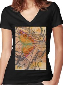 """Meadow Argus""  Women's Fitted V-Neck T-Shirt"