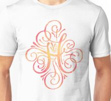 Monogram Watercolor Calligraphy H Unisex T-Shirt