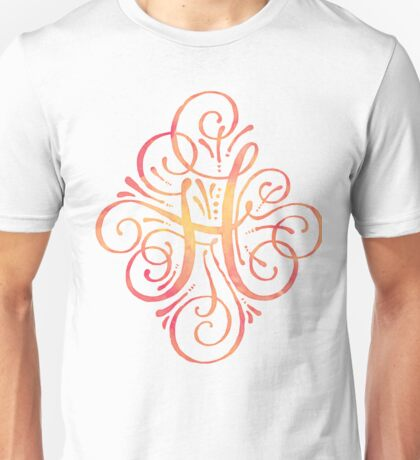 Monogram Watercolor Calligraphy H Unisex T-Shirt
