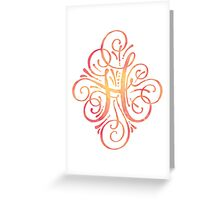 Monogram Watercolor Calligraphy H Greeting Card