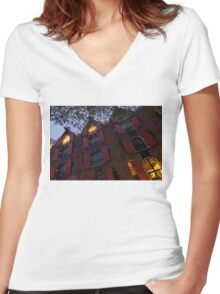 Springtime Amsterdam - Bright Red Window Shutters in the Evening Breeze - Left Women's Fitted V-Neck T-Shirt