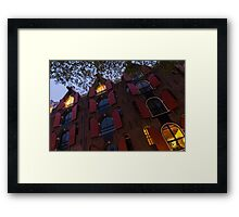 Springtime Amsterdam - Bright Red Window Shutters in the Evening Breeze - Left Framed Print