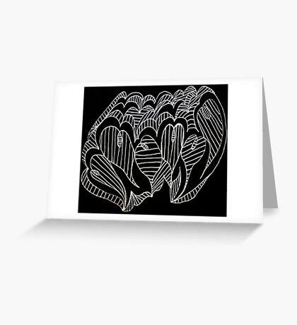 White Lined Hearts Greeting Card