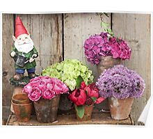 Still Life with Flowers & a Gnome Poster