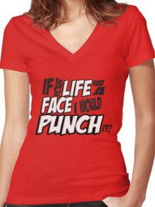 If Your Life Had A Face  I Would Punch It! - Scott pilgrim vs The World Women's Fitted V-Neck T-Shirt