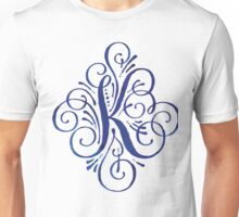 Monogram Watercolor Calligraphy Letter K Unisex T-Shirt