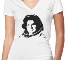 First Woman in Space - Valentina Tereshkove Women's Fitted V-Neck T-Shirt
