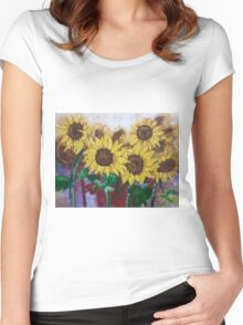 Glorious Sunflowers Women's Fitted Scoop T-Shirt