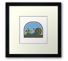 Rower Rowing Machine Half Circle Retro Framed Print