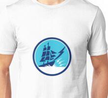 Tall Sailing Ship Lightning Bolt Circle Unisex T-Shirt