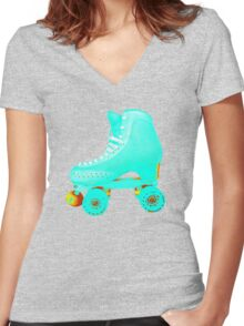 Blue Roller Skate Women's Fitted V-Neck T-Shirt