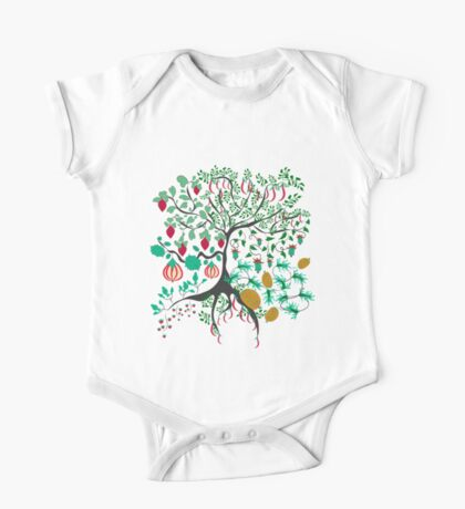 Fairy floral pattern garden with plants, tree and flowers One Piece - Short Sleeve