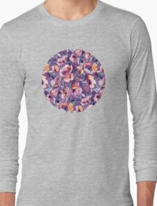 May Afternoon - a watercolor floral in purple and peach Long Sleeve T-Shirt