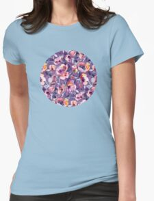 May Afternoon - a watercolor floral in purple and peach Womens Fitted T-Shirt