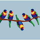Colorful cheeky rainbow lorikeets on a branch by goanna