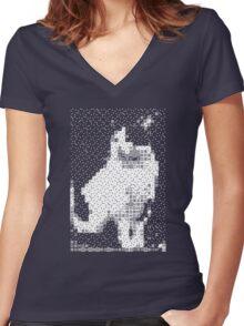 Domino, the Black & White Cat Women's Fitted V-Neck T-Shirt