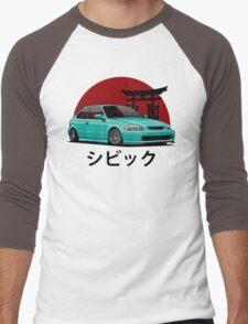 Civic EK (aquamarine) Men's Baseball ¾ T-Shirt