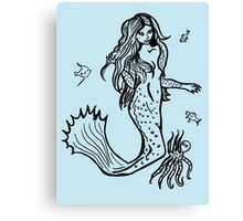 Mermaid with octopus and assorted fish Canvas Print