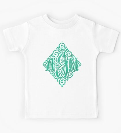Monogram Watercolor Calligraphy AJM Kids Tee
