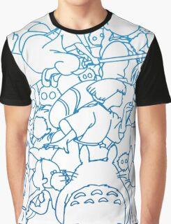 Ghibli Blue Design Graphic T-Shirt