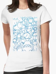 Ghibli Blue Design Womens Fitted T-Shirt