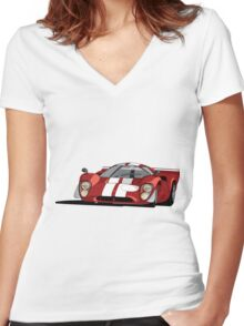 Lola T70 MKIII - Red Women's Fitted V-Neck T-Shirt