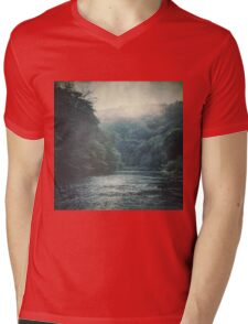 Valley and River Mens V-Neck T-Shirt