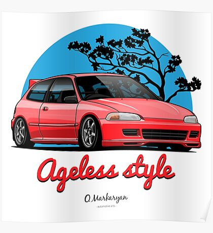 Ageless Style Civic EG (red) Poster