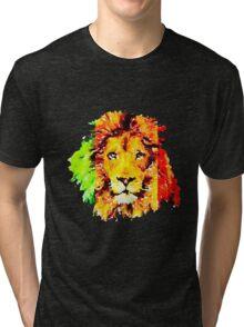 Red, Green and Gold Rasta Lion Tri-blend T-Shirt