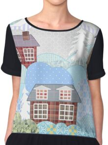 Background retro christmas patchwork design nature winter picture illustration Chiffon Top