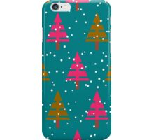 Seamless christmas pattern with christmas trees winter geometrical background iPhone Case/Skin