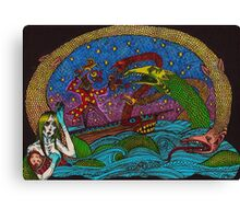 The Wizard and the Sea Serpants, in colour! Canvas Print